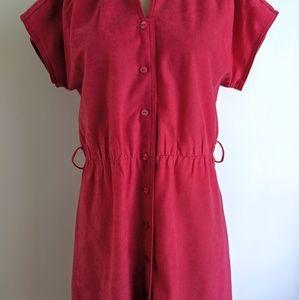 Vintage Dresses - vintage 80's hot pink pleated button front dress